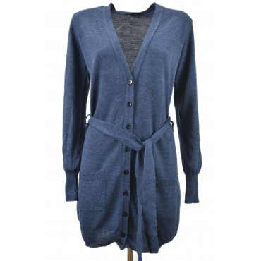Knitted Women Cardigan Long ScolloV Grey with Rombetti