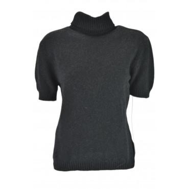 Ladies dress Shirt Black Large, High neck and half sleeves