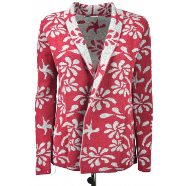 Jacket Knitted Cardigan Open Women's Jacquard Floral