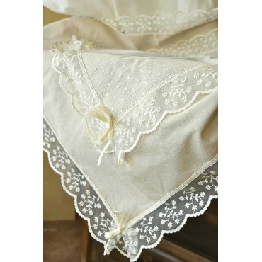 Runner Centerpiece Square Lace and Linen Ecru Shabby Chic