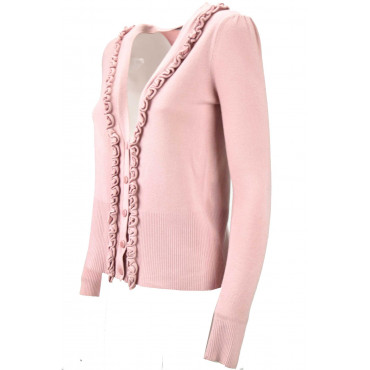 Cardigan Ruffles Woman Slim Pink 42/44 M Mix Cashmere - Sweaters Cashmere