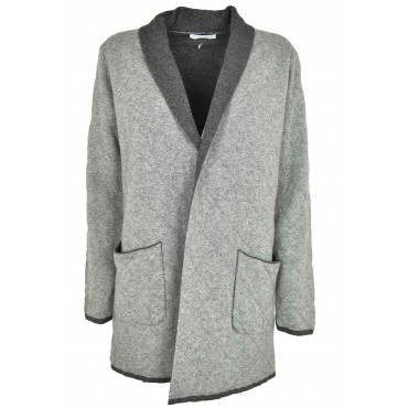 Cardigan Open Jacket Quilted Mesh Double