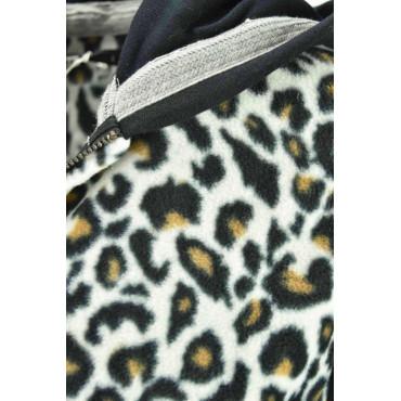 Felpa Pile Leopardo con Cappuccio BiancoNera
