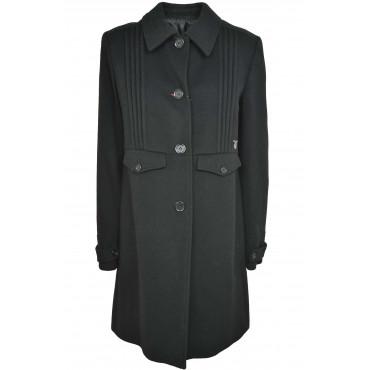 Calvin Klein Femme Manteau 48 XL en Tissu Noir en Cachemire Plissé