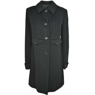 Calvin Klein Woman Coat 48 XL Black Cloth Cashmere Pleated
