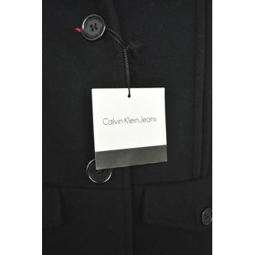 Calvin Klein Cappotto Donna 48 XL Nero Panno misto Cachemire Plissè