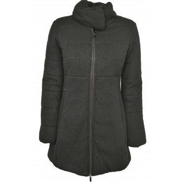 Jacket Padded Long Women's Black Outer Cloth, Wool