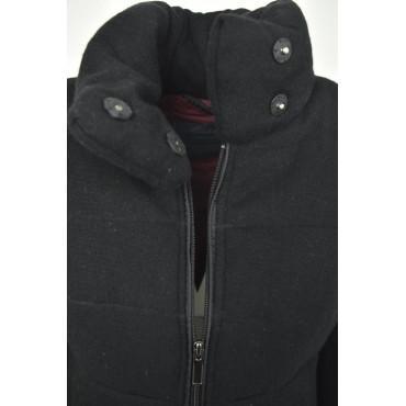 Veste Matelassée Longue Femme Extérieur Noir en Tissu, de la Laine