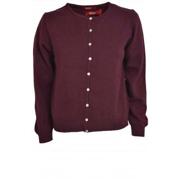 Doble Conjunto De Mujer Cardigan De Cuello Redondo + T-Camisa De Cachemira - Clásico