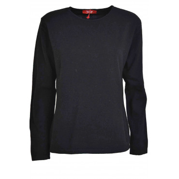 Mesh ladies crew neck 2Fili Wool and Cashmere - Fit Straight