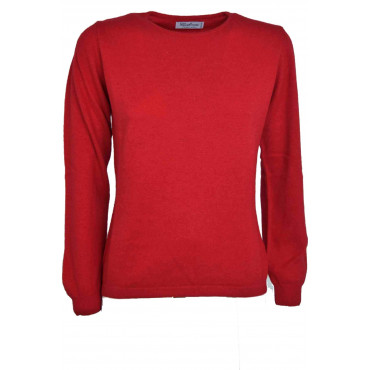 Mesh ladies crew neck Red Screwed Slim Cashmere and Silk
