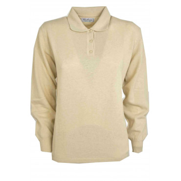 Mesh ladies Polo-Beige - Large Fit and Straight