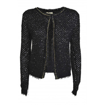 Jacket Knitted Women Cardigan Chanel Sequined Cashmere-Silk - Black, White, Ivory M L