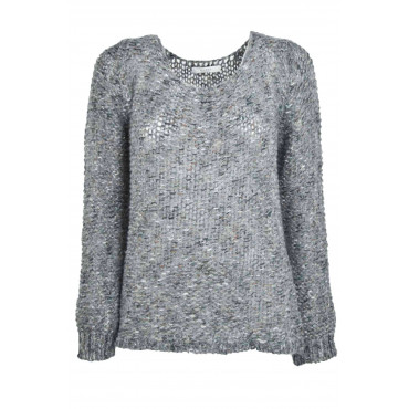 Knit Women's Crew Neck Thick Wool Melange Grey Lurex Gold