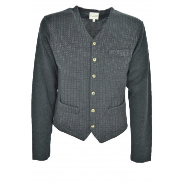 Pull Homme Cardigan Gris Gilet Capalbio - 100% Pure Laine Vierge