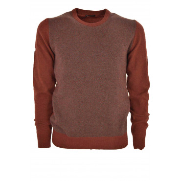 Ballantyne Sweater Men Crew Neck, Herringbone, Rust - 20% Cashmere 80% Wool