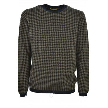 Sweater Men crew neck Beige Blue Jacquard Pied-de-Poule