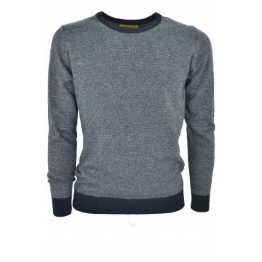 Sweater Men Crew Neck, Blue Jacquard Needle