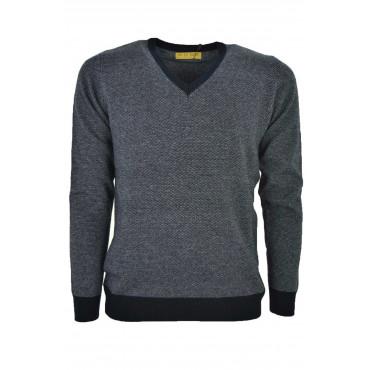 Sweater Man V Neckline Blue Jacquard Needle