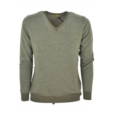 Sweater Man V Neckline Beige Jacquard Needle