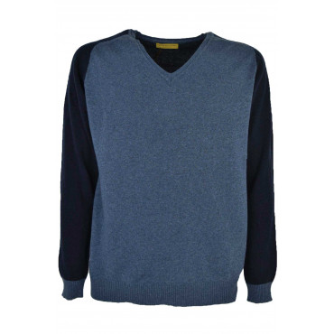 Sweater Slim Man V Neckline Double-Color - Wool mixed Cashmere