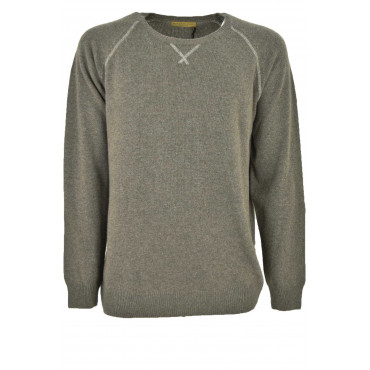 Sweater Men crew neck Beige or Blue 3-Wire - Wool mixed Cashmere