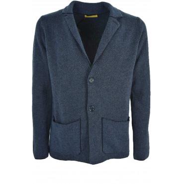 Jacket Sweater Man Cardigan Herringbone - Wool mixed Cashmere