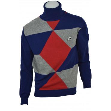 Suéter de Hombre de Cuello de cuello Alto Geométricas