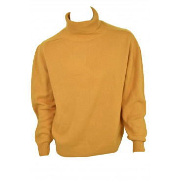 Sweater Man turtleneck Forest Green or Mustard Yellow - 30 Cashmere 70 Wool