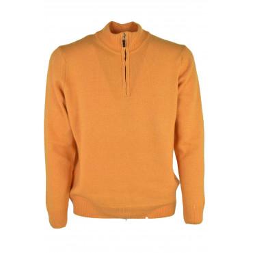 Sweater Man Turtleneck half Zip Yellow Egg - Wool