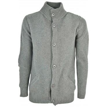 Jacket Man Wool Knit English Rib Buttons