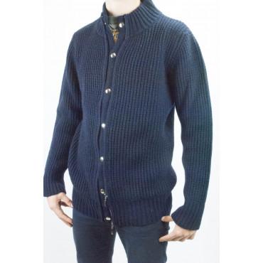 Veste Homme en Laine Tricot anglais rib Zip - Sable, Bleu - XL, XXL
