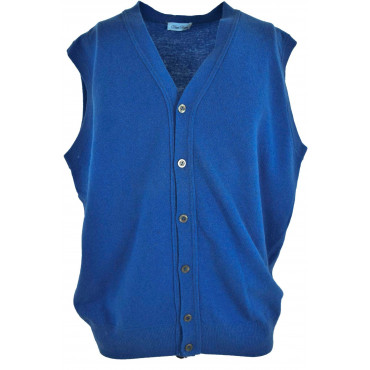Gilet Hommes Boutons Bleu Jersey PuraLana Geelong