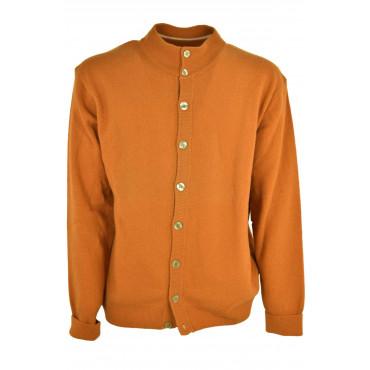 Cardigan Man Orange 52 XL Bomber Buttons Man PuraLana Geelong