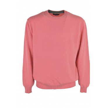 Sweater Men Crew Neck Coral Pink - 2-Wire Wool Blend Cashmere