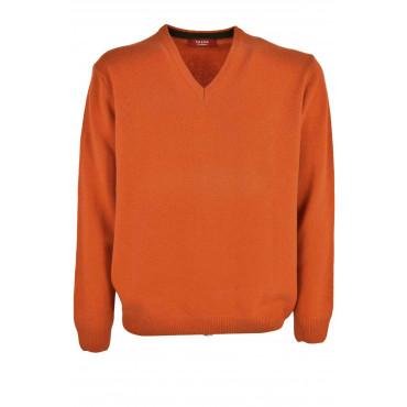 Pull col V Homme Orange - 3Fili Cachemire