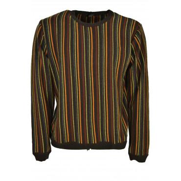 Shirt Man Round Neck Vertical Stripes Brown Orange Rust Yellow - Cashmere
