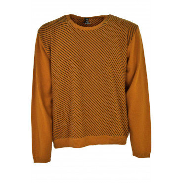 Jersey Mens Crew Neck Orange Rows Of Oblique Black - Alessandro Tellini