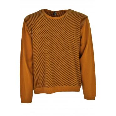 Jersey Para Hombre De Cuello Redondo De Color Naranja Filas De Oblicuo Negro - Alessandro Tellini