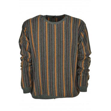 Jersey Para Hombre De Cuello Redondo De Color Gris A Rayas Verticales De Color Naranja Marrón Negro - Alessandro Tellini