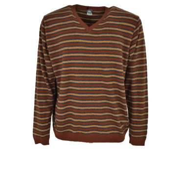 Jersey Man ScolloV Horizontal Lines Grey-Brown - Orange Cashmere