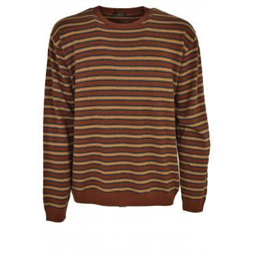 Jersey Mens Crew Neck Brown Horizontal Stripes-Orange-Grey - Cashmere