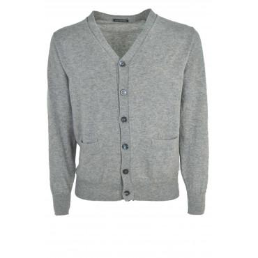 Sweater Man Cardigan V Neckline Button Placket - 100% Cashmere