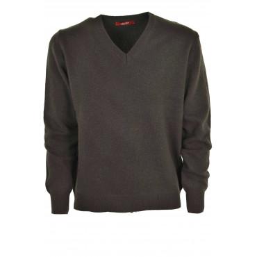 Mens Pullover V Neckline Medium Weight Pure Cashmere 4-Wire