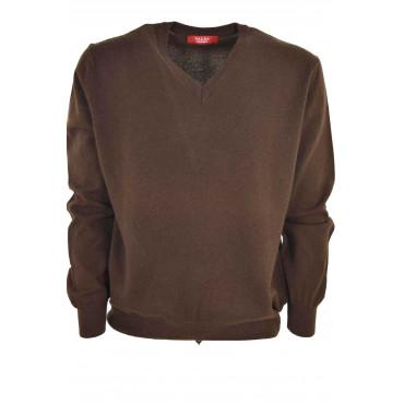 Mens Pullover V - Neckline Pure Cashmere Classic 2Fili
