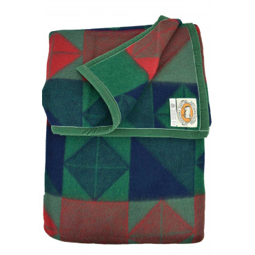 Covered Double Pure Virgin Wool Geometric Green Red 250x210