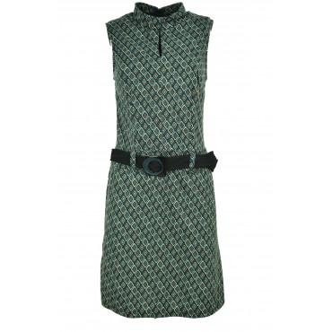 Robe Femme, Robe Chemise Noir et Vert Diamants Fantaisie