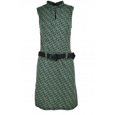 Woman Sheath Dress Mesh Black and Green Rhombus Fantasy