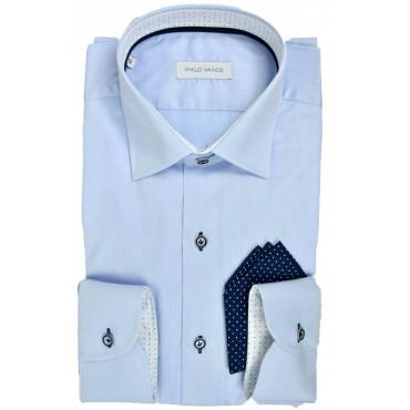 Stylish Man Shirt light blue with Pocket Handkerchief - Philo Vance - Etienne