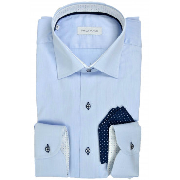 Stylish Man Shirt light blue with Pocket Handkerchief - Philo Vance - Etienne